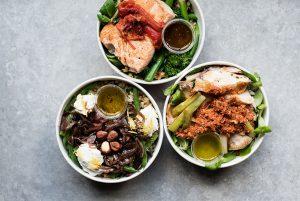Selection of 3 tasty salad pots.