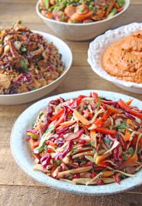 3 vegetarian salad sharing platters.