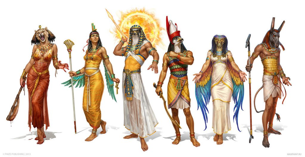 egyptian_gods_by_katemaxpaint-d8ra9sm