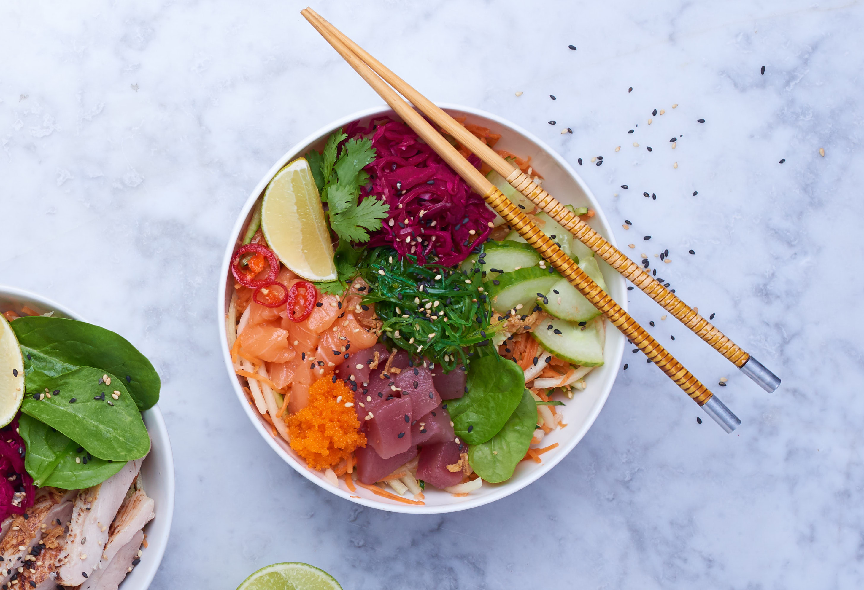 Salmon, tuna, carrot, cucumber, coriander, mint - very nutritious poké bowl