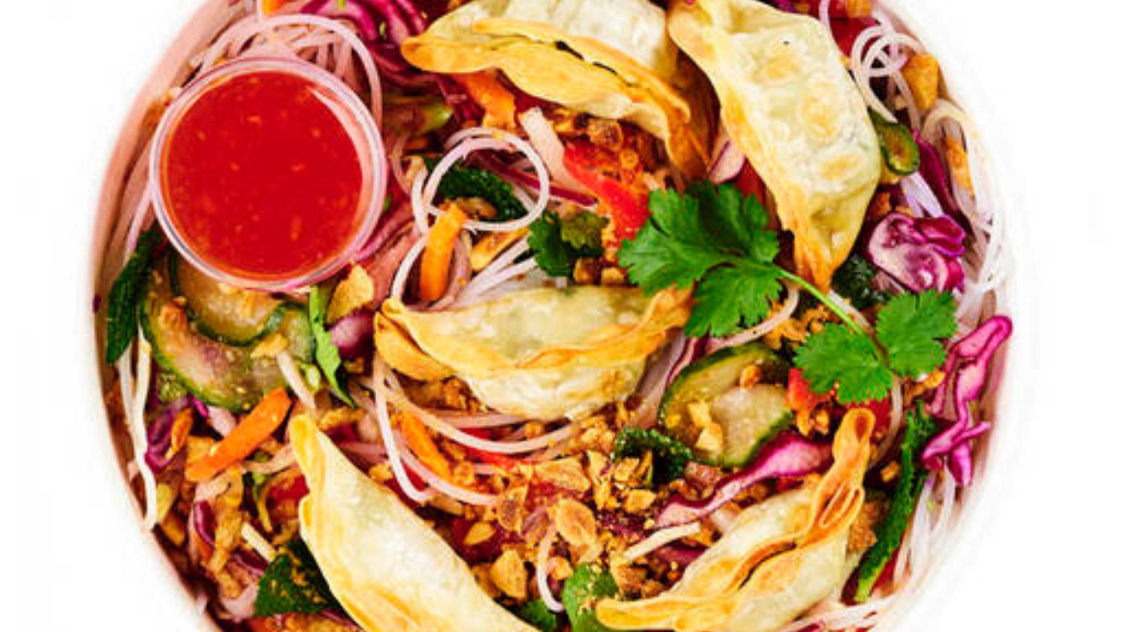 HOP Vietnamese's Veg dumpling noodle salad