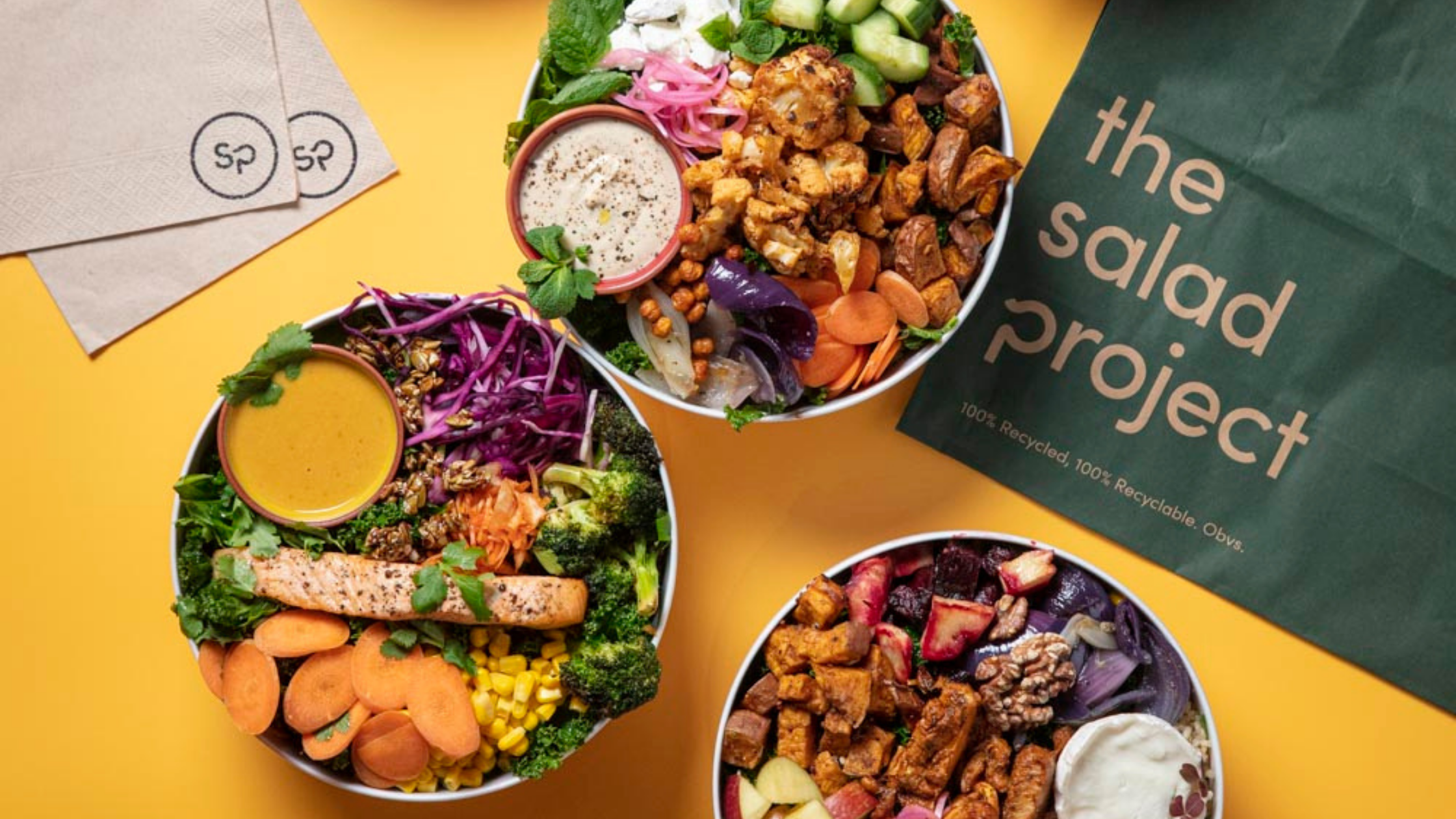 Variety of nutritious salads from The Salad Project